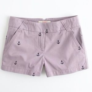 J. Crew Lavender Chino Shorts w/Navy Blue Anchors